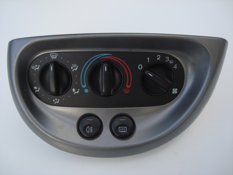grey heater control panel with six position dial