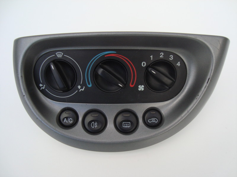 grey heater control panel with three position dial and air conditioning